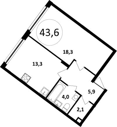 1-к.кв, 43.6 м²