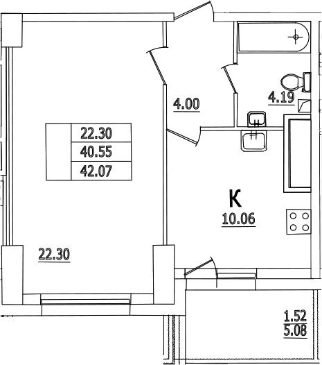 1-комнатная, 42.07 м²– 2