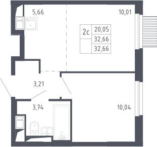 2Е-к.кв, 32.66 м²