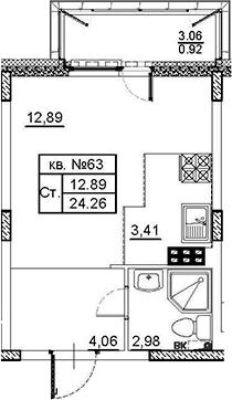 Студия, 24.26 м²– 2