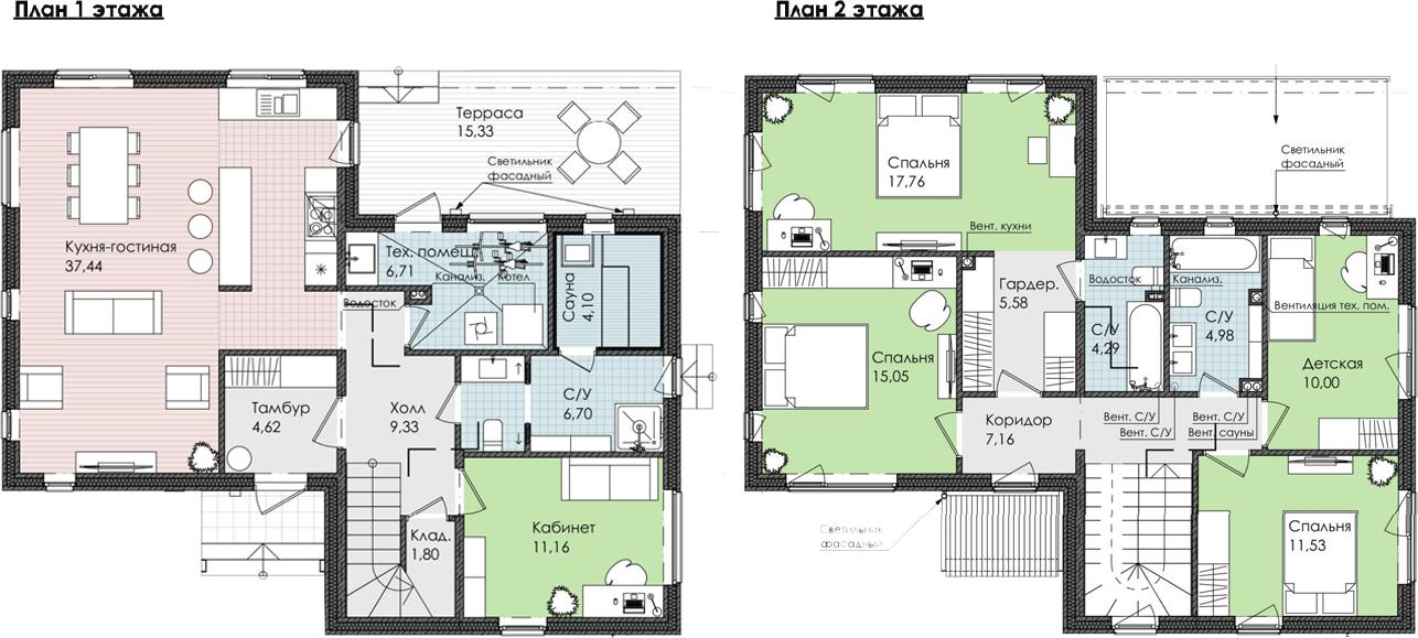 Коттедж, 173.54 м², 1 этаж