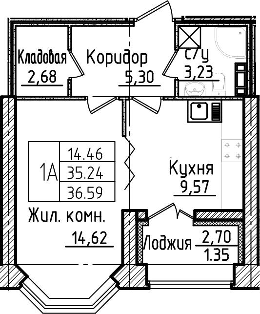 1-к.кв, 37.94 м²