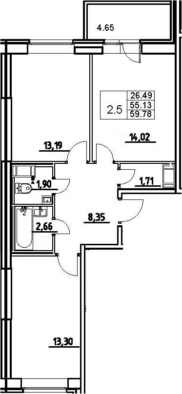 3-к.кв (евро), 59.78 м²