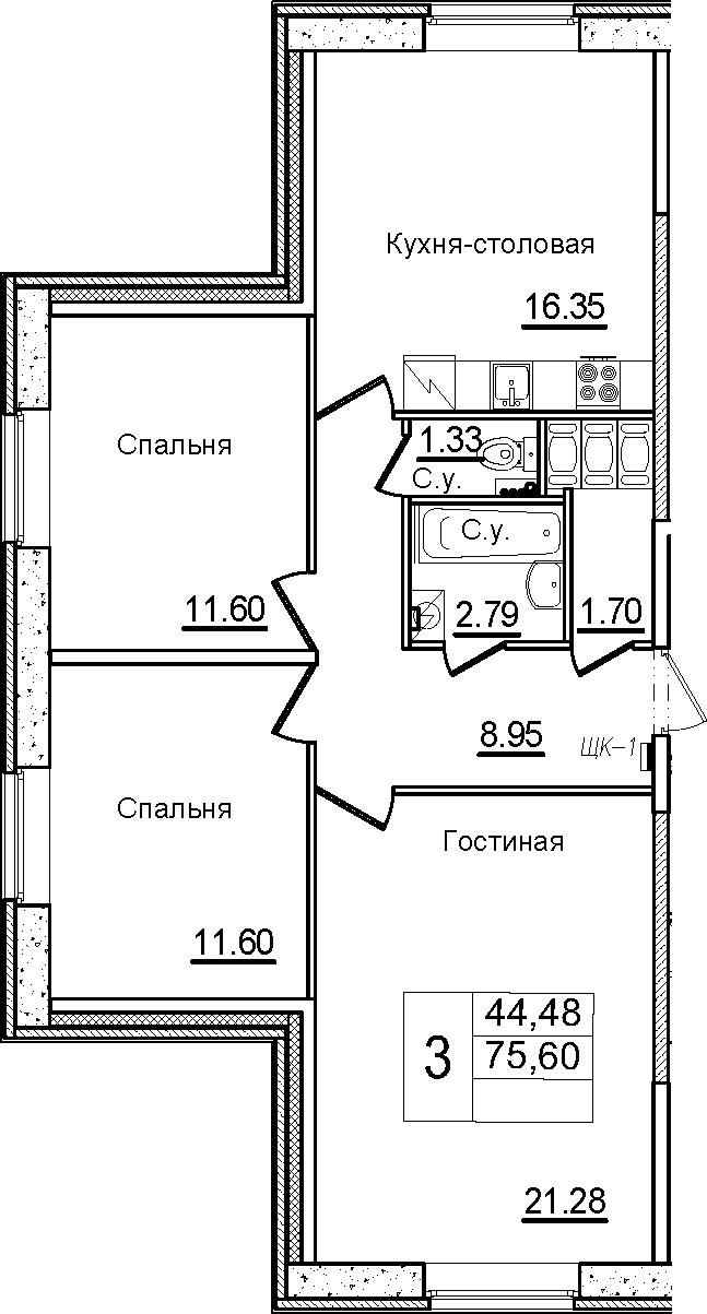 4Е-к.кв, 75.6 м²