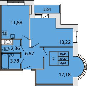 2-к.кв, 58.02 м²