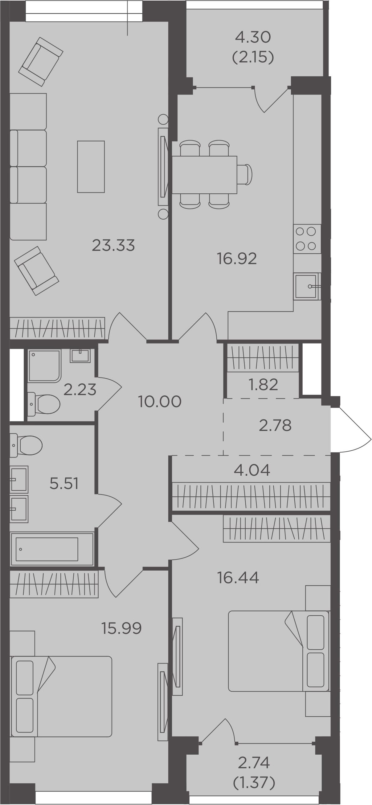 3-комнатная, 102.58 м²– 2