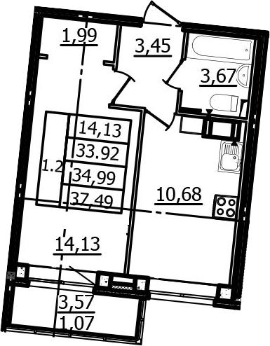 1-к.кв, 33.92 м², 2 этаж