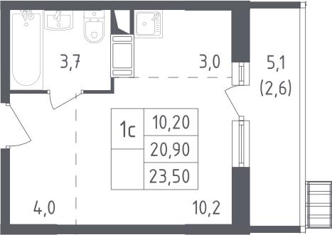 Студия, 23.5 м²