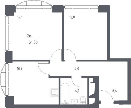 2-к.кв, 51.3 м², 8 этаж