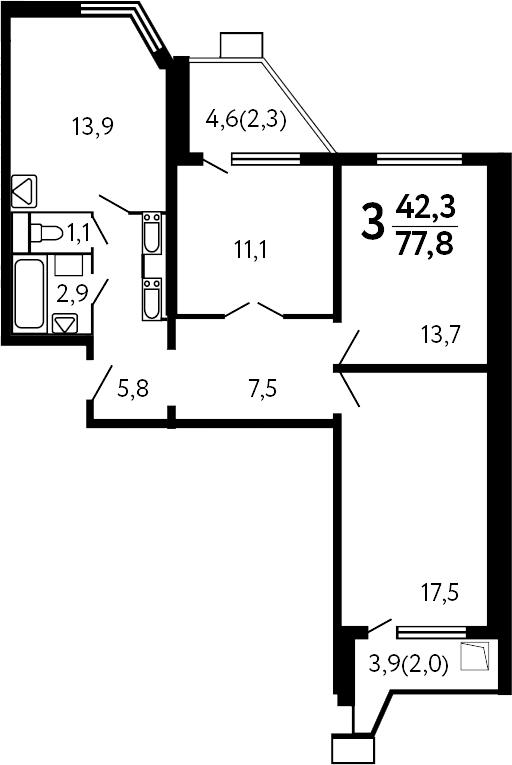 3-к.кв, 82.1 м²