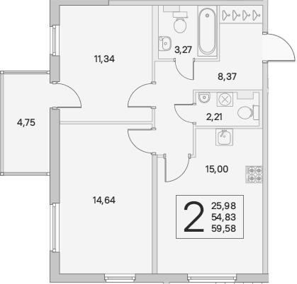3Е-к.кв, 56.26 м², 1 этаж