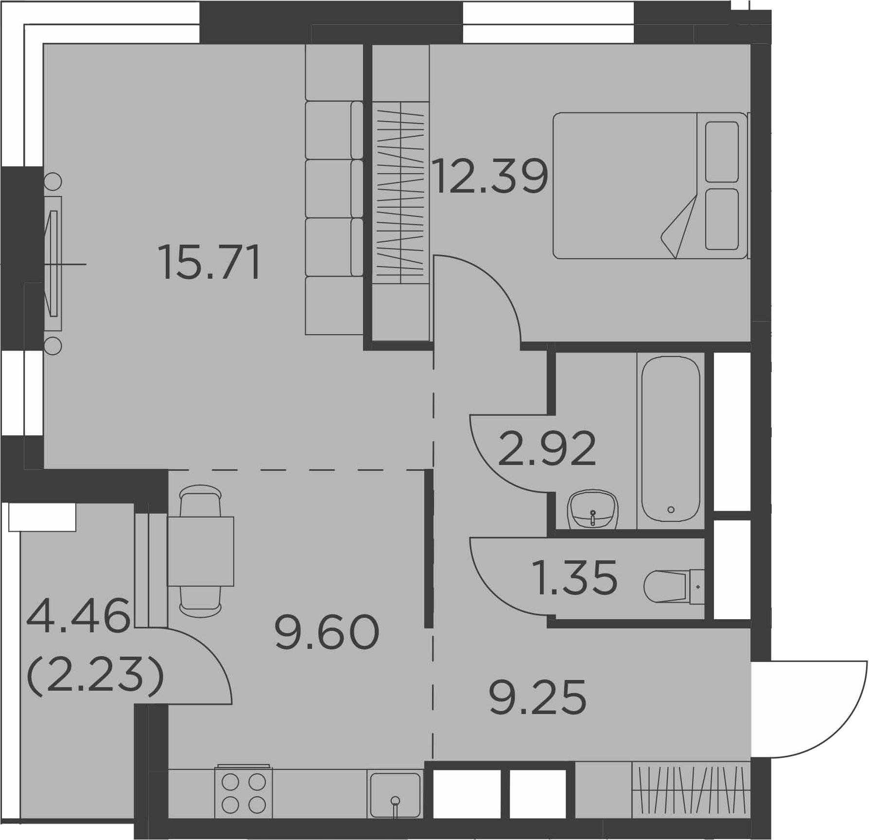 2-к.кв, 53.45 м²