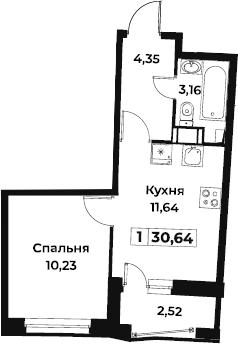 1-к.кв, 30.64 м², 3 этаж