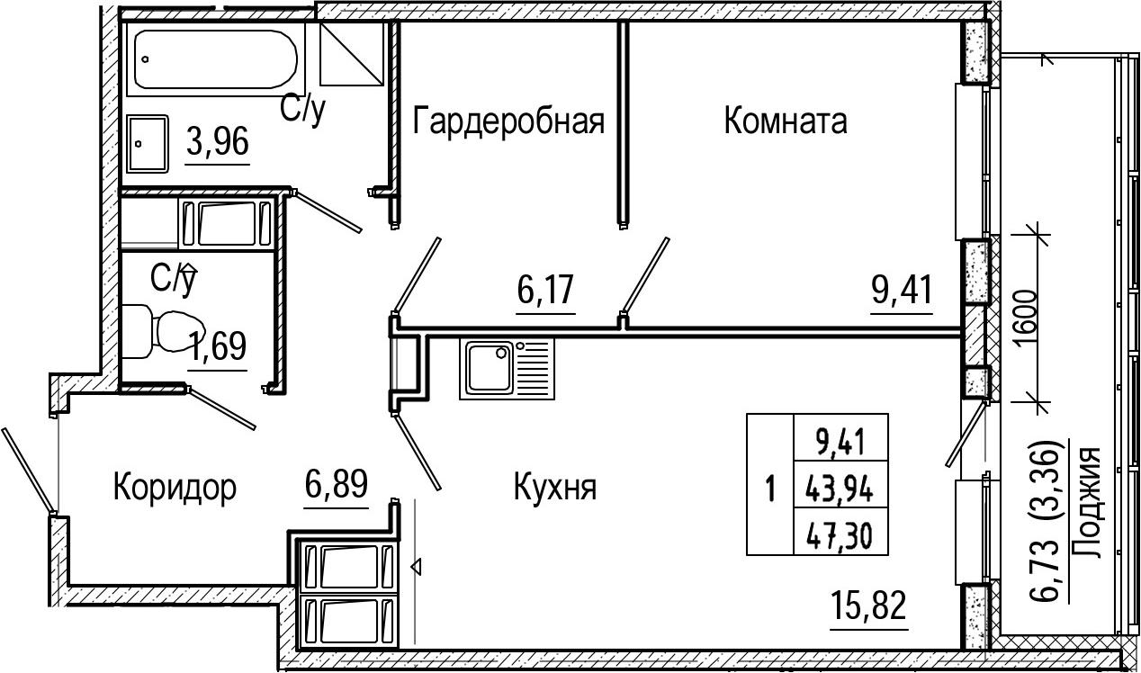 2Е-к.кв, 47.3 м², от 21 этажа