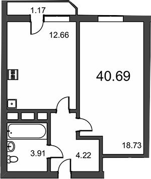 1-к.кв, 41.86 м²