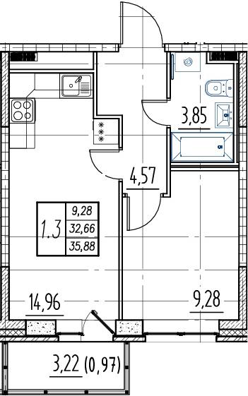 2Е-к.кв, 32.66 м², от 16 этажа