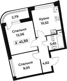 2-к.кв, 41.3 м²