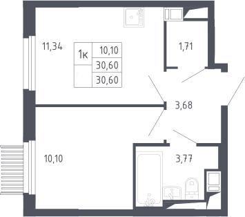 1-к.кв, 30.6 м², 13 этаж