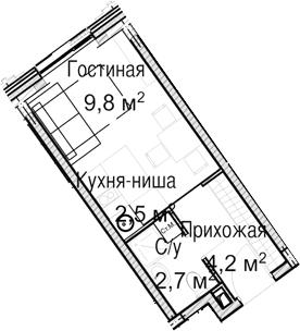 Студия, 19.2 м²
