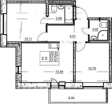 3Е-к.кв, 51.67 м²