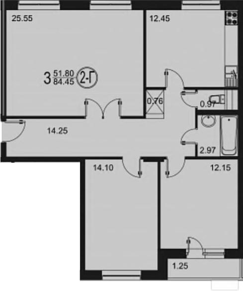 3-комнатная, 84.45 м²– 2