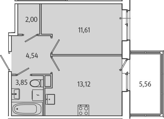 1-комнатная, 36.79 м²– 2