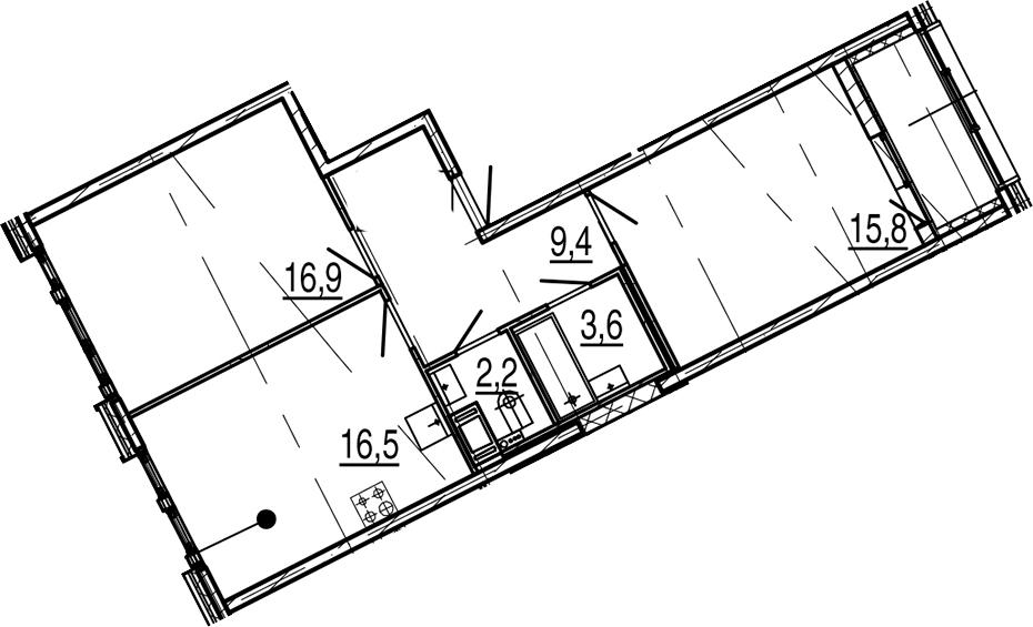 3Е-к.кв, 66.3 м², от 5 этажа