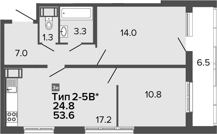 3Е-к.кв, 53.6 м², 24 этаж