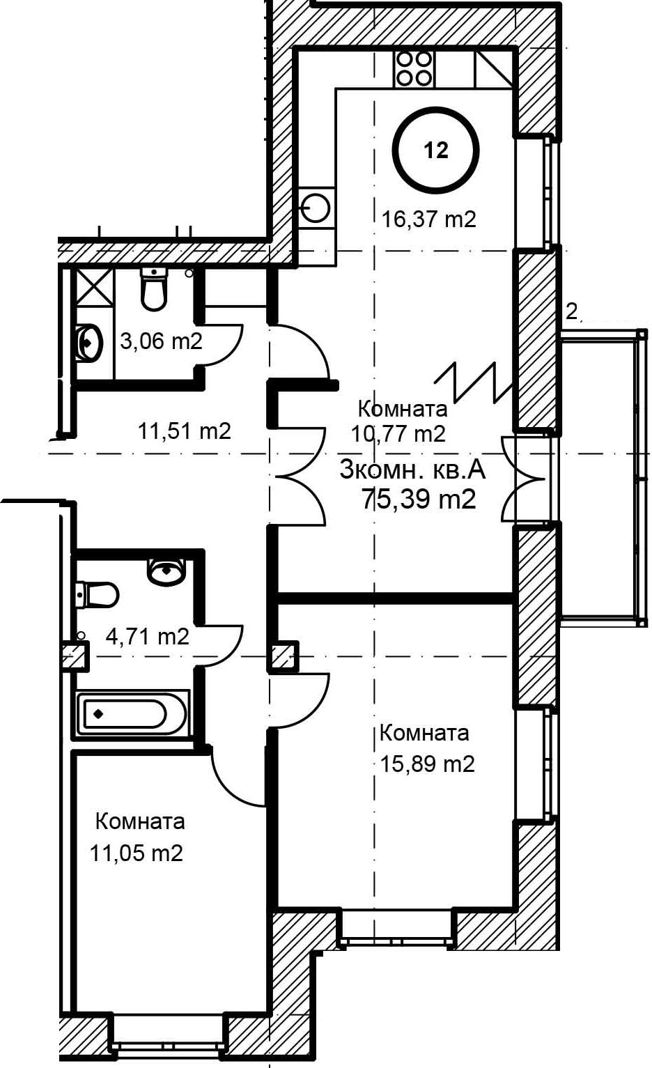 3-к.кв, 75.39 м², 5 этаж