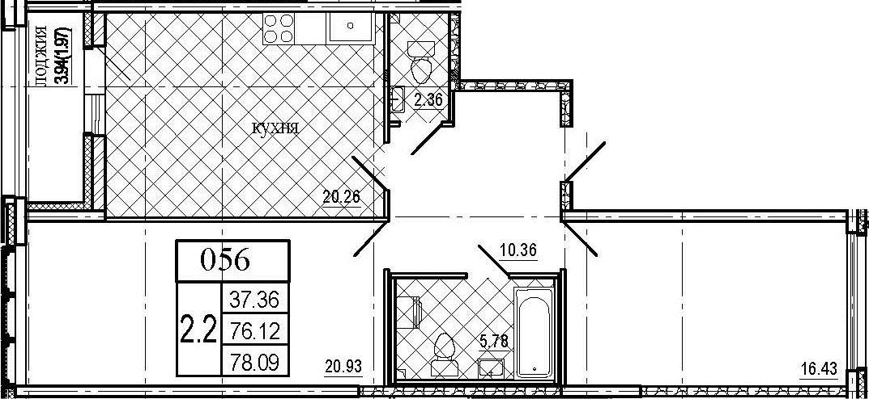 3Е-комнатная, 78.09 м²– 2