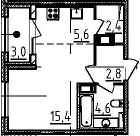 Студия, 32.3 м², от 5 этажа