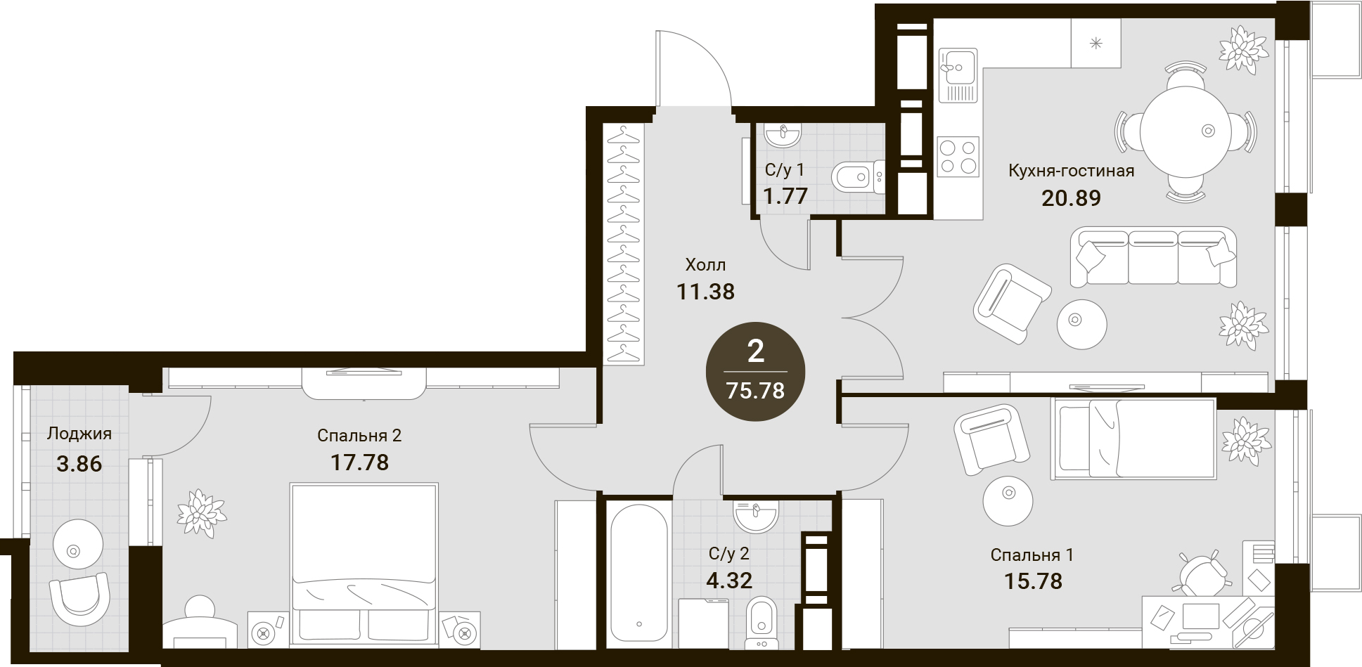 3Е-к.кв, 75.78 м²