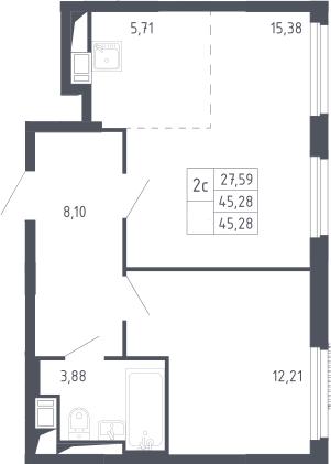 2Е-комнатная, 45.28 м²– 2