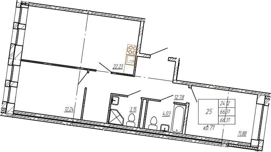3Е-комнатная, 66.31 м²– 2