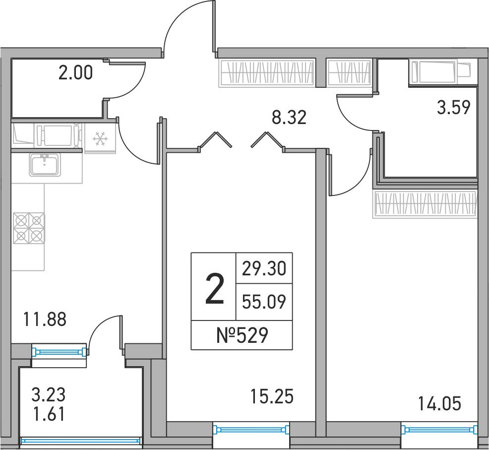 2-комнатная, 55.09 м²– 2