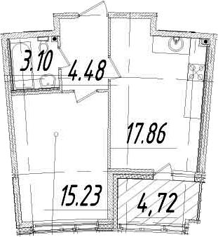 1-к.кв, 43.03 м², от 3 этажа