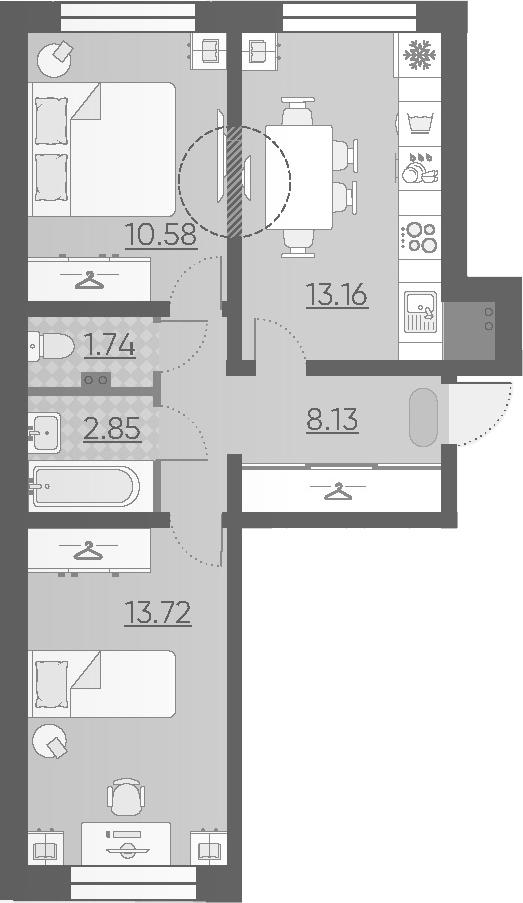 2-к.кв, 50.18 м²