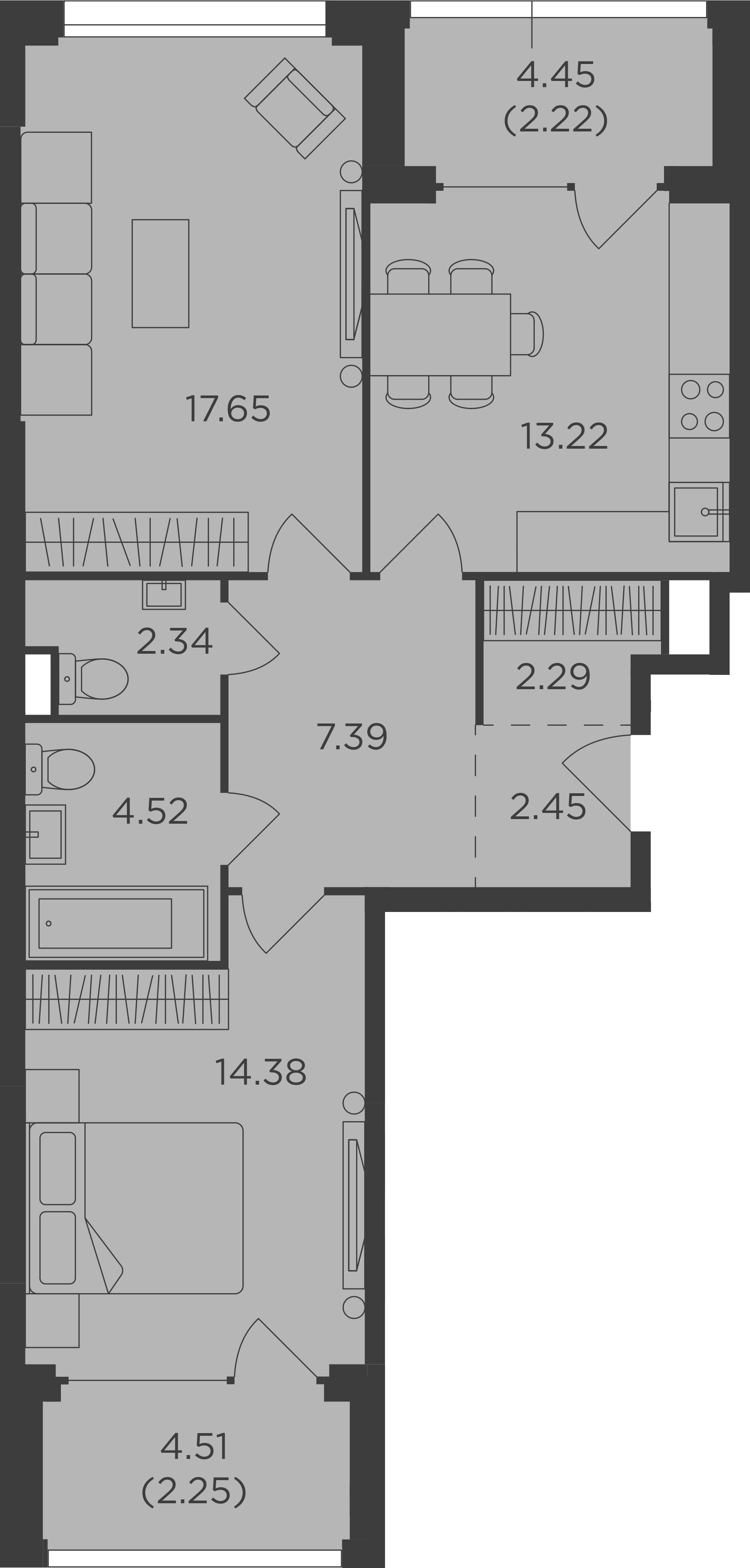 2-комнатная, 68.71 м²– 2