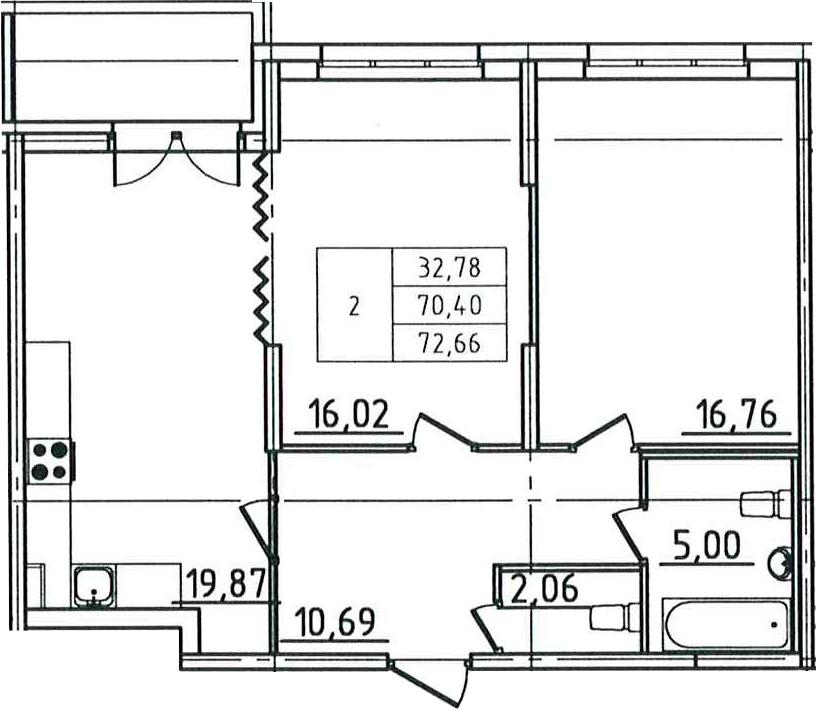 3-к.кв (евро), 74.92 м²