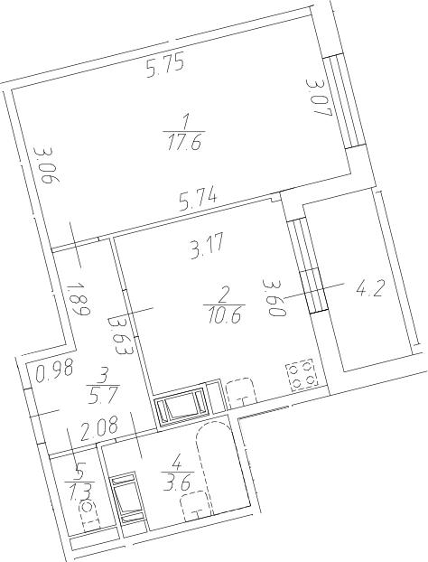 1-к.кв, 43 м²