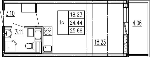 Студия, 24.44 м²