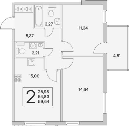 3Е-к.кв, 56.27 м², 1 этаж