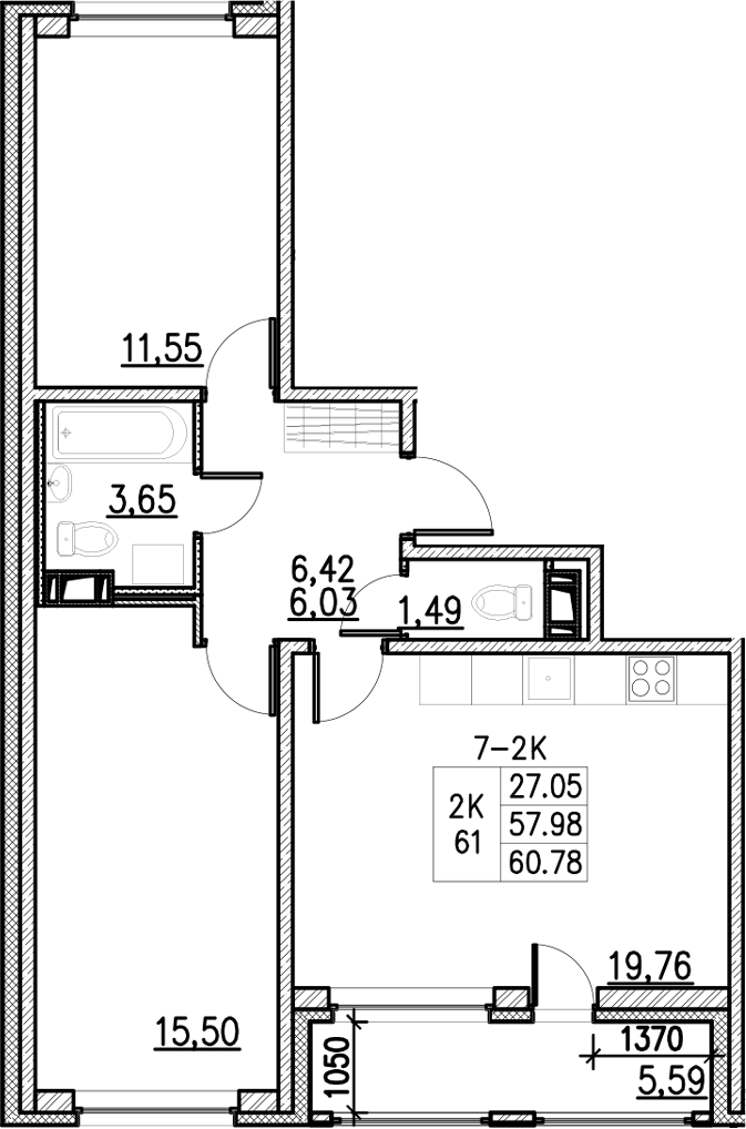 3Е-к.кв, 60.78 м²