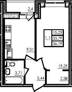 1-комнатная, 33.82 м²– 2