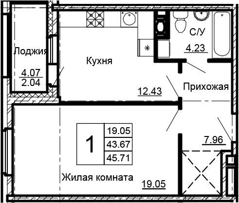 1-к.кв, 45.71 м²