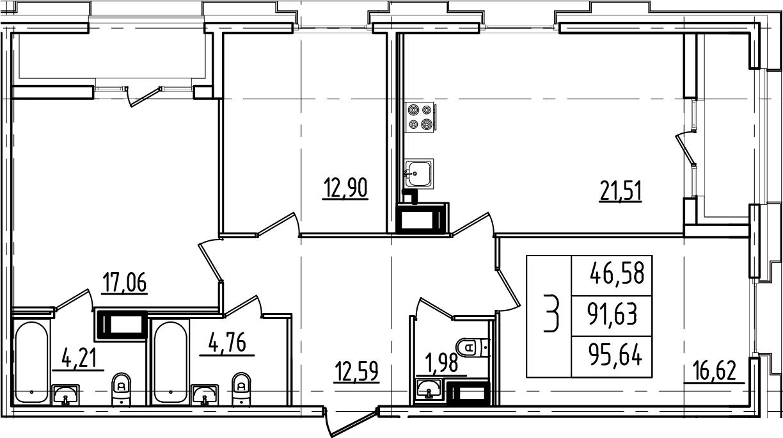 4Е-к.кв, 95.64 м², от 5 этажа