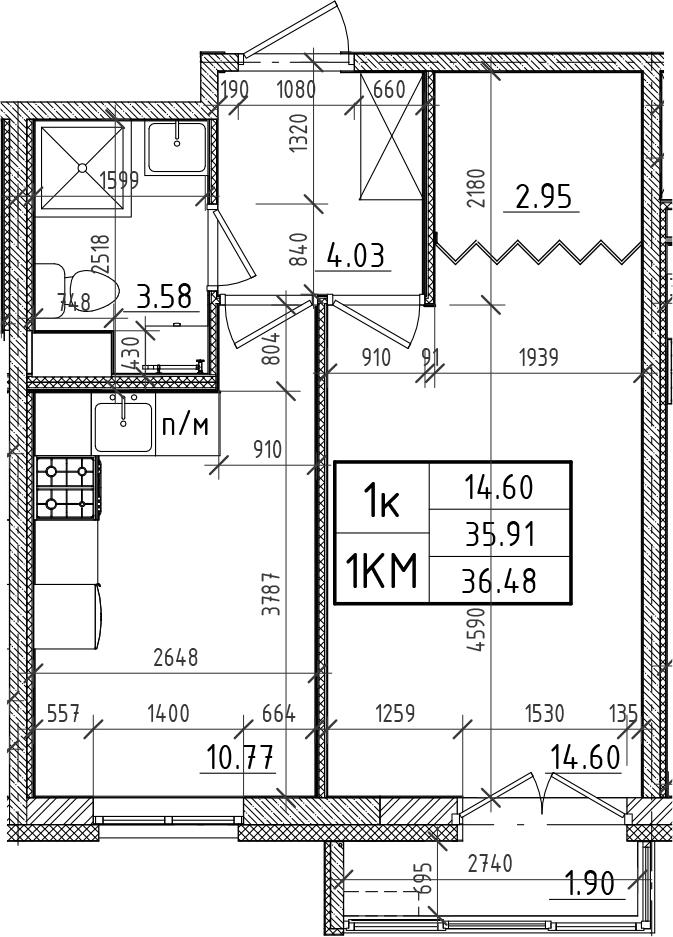 1-комнатная, 35.91 м²– 2