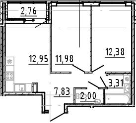 3Е-к.кв, 50.45 м², 9 этаж
