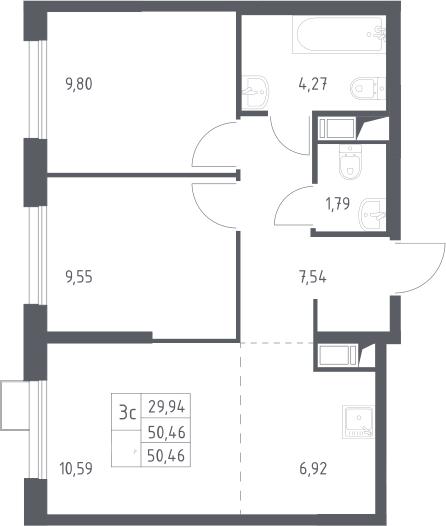 3Е-к.кв, 50.46 м²