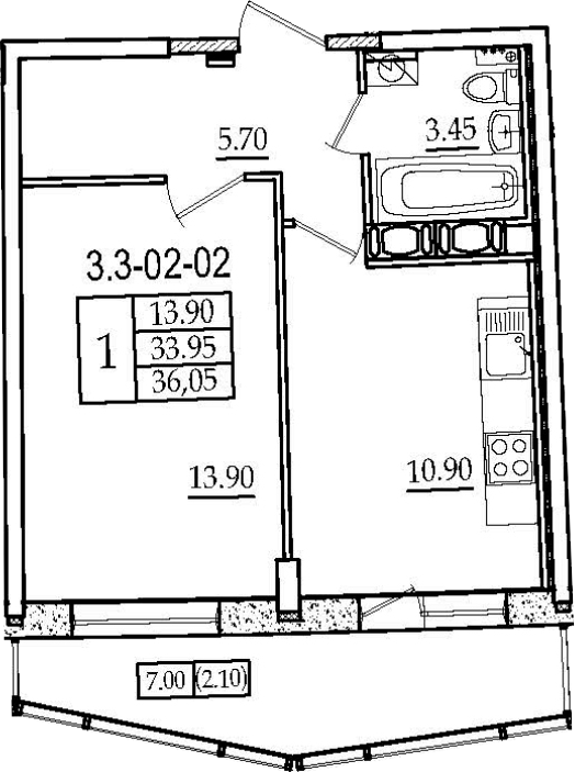 1-к.кв, 36.05 м², 2 этаж